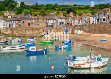 15 June 2018: Mousehole, Cornwall, UK - The harbour and village. - Stock Photo