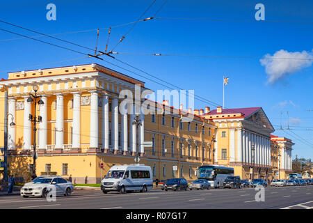 18 September 2018: St Petersburg, Russia - The Admiralty, headquarters of the Russian Navy. - Stock Photo