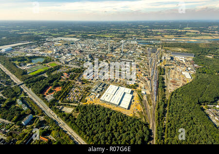 Aerial photograph, Marl Chemical Park, Chemical Factory, Sasol Germany GmbH, formerly Hüls Chemicals, Degussa, ISP Marl GmbH, Hüls, Marl, Ruhr Area, N - Stock Photo