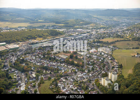 Aerial photograph, overview of Neunkirchen, SSI SCHAEFER - Fritz Schäfer GmbH, Salchendorf, Neunkirchen, Siegerland, Siegen-Wittgenstein, North Rhine- - Stock Photo