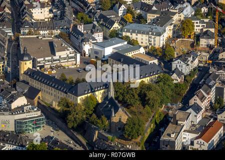 Aerial View, Lower Castle, Thick Tower, Museum of Contemporary Art, Kölner Straße, Martinikirche, Grabenstraße, Siegen, Siegen-Wittgenstein, Siegerlan - Stock Photo
