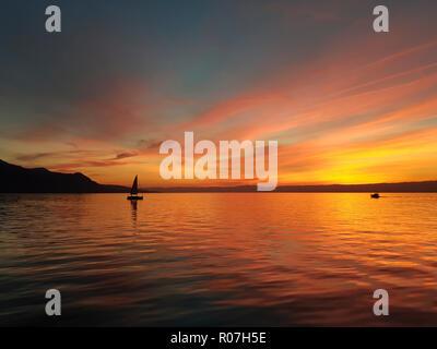 Sunset over Lake Geneva, Switzerland - Stock Photo