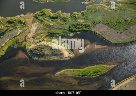 Aerial view, Lippedelta, new mouth of the mouth, low tide, sand banks, river, mouth in the Rhine, Lippedorf, Wesel, Ruhr area, Niederrhein, North Rhin - Stock Photo