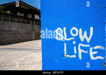Blue painted with slow life text written on wall - Stock Photo