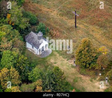 Aerial view, small chapel on Kreuzbergweg, wooden cross, Winterberg, Sauerland, North Rhine-Westphalia, Germany, DEU, Europe, aerial view, birds-eyes  - Stock Photo