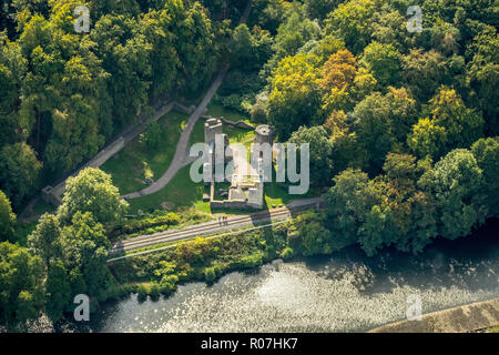 Aerial view, Hardenstein castle ruin, Ruhr valley, rivervalles, River Ruhr, Witten, Ruhr area, North Rhine-Westphalia, Germany, DEU, Europe, aerial vi - Stock Photo