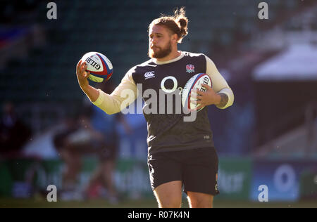 England's Alec Hepburn during the training session at Twickenham Stadium, London. PRESS ASSOCIATION Photo. Picture date: Friday November 2, 2018. See PA story RUGBYU England. Photo credit should read: Adam Davy/PA Wire. RESTRICTIONS: Editorial use only, No commercial use without prior permission. - Stock Photo