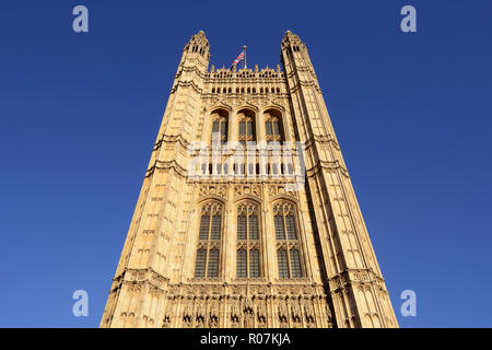 Victoria Tower, Houses of Parliament, Palace of Westminster, London, England, United Kingdom - Stock Photo