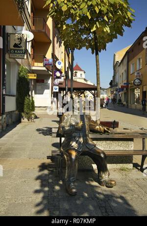 Monument to Good soldier Svejk at 3 May Street in Sanok. Subcarpathian voivodeship. Poland - Stock Photo