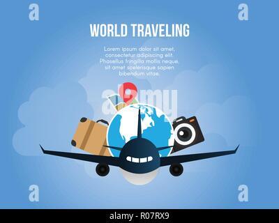 World traveling concept illustration vector design template - Stock Photo
