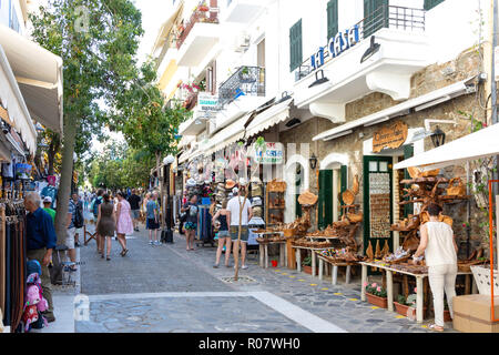 Souvenir shops, Omirou, Agios Nikolaos, Lasithi Region, Crete (Kriti), Greece - Stock Photo
