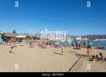 Ammos Beach, Agios Nikolaos, Lasithi Region, Crete (Kriti), Greece - Stock Photo