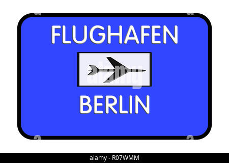 Berlin Germany Airport Highway Road Sign 3D Illustration - Stock Photo