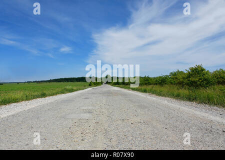 Rural paved road among the fields, orchards and forests - Stock Photo