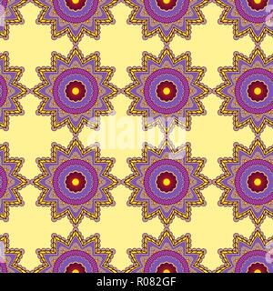 Delicate pattern with abstract decorative flowers in violet and yellow hues on the pale background, seamless vector as a fabric texture - Stock Photo