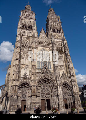 Tours Cathedral is a Roman Catholic church located in Tours, Indre-et-Loire, France. Its name in french is Cathédrale Saint-Gatien de Tours. It is ded - Stock Photo