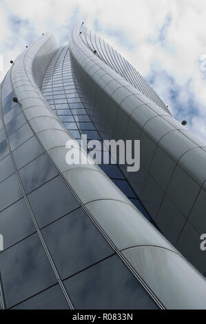 Europe. Italy. Lombardy. Milan. Skyscraper in Citylife district, Torre Hadid (185 m) designed by Zaha Hadid nicknamed the Storto - Stock Photo