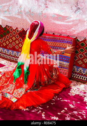 Qashqai traditional dances during wedding ceremony, nomad people of Iran - Stock Photo