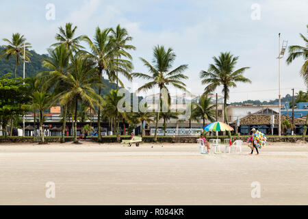 Guaruja, SP, Brazil - February 16, 2018. Enseada Beach in Guaruja, Brazil. - Stock Photo