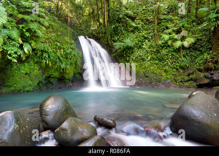 Most famous touristic site in Guadeloupe, french west indies, 'cascade aux ecrevisses' (crawfishes waterfall). - Stock Photo