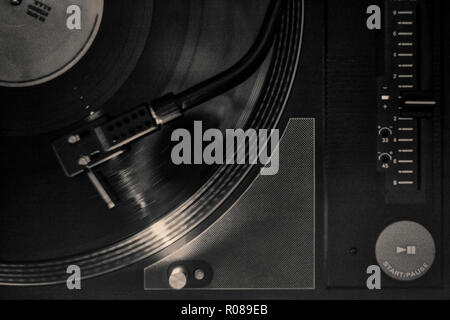 A Typical 45 Rpm Vinyl Record With A Blank Label Over A