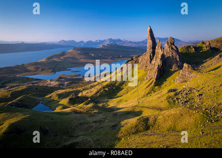 Dawn at the Old Man of Storr, Trotternish Peninsula, Isle of Skye, Scotland - Stock Photo