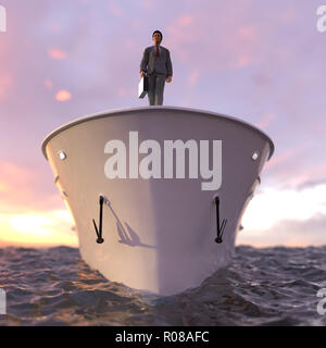 successful businessman standing on the prow of the ship - Stock Photo