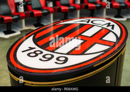 7 JUNE 2018, MILAN, ITALY: Elements of the interior stadium football teams Inter Milan and Milan in the city of San Siro. - Stock Photo