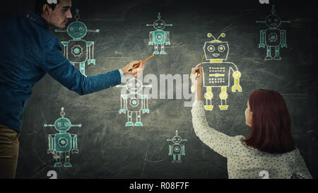 People sharing thoughts together draw different robots on blackboard. Employee choosing, artificial intellect replace human, leadership concept. Moder - Stock Photo