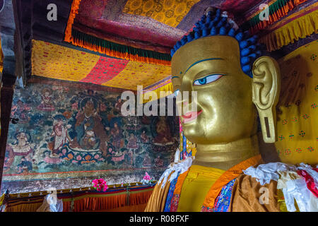 The 12 meters high copper with gilded gold statue of the Shakyamuni Buddha, is one of the main attractions in Shey Gompa, built in 1655 - Stock Photo