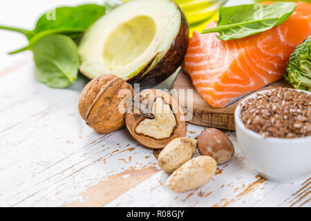 Selection of healthy food sources - healthy eating concept. Ketogenic diet concept, copy space - Stock Photo