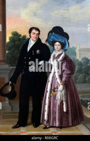 Fernando VII. Portrait of King Ferdinand VII of Spain (1784-1833) and his wife Maria Cristina by Luis de la Cruz y Rios (1776-1853), oil on canvas, 1832 - Stock Photo