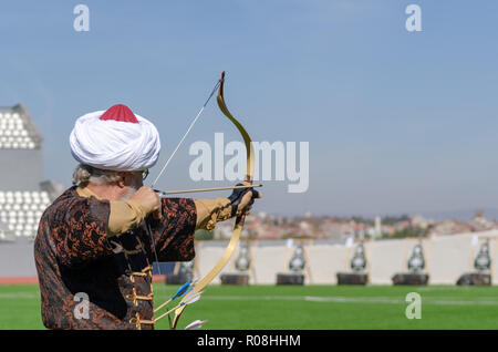 Eskisehir,TURKEY-October 28,2018:Traditional Archery .The athlete is shooting at the target. - Stock Photo