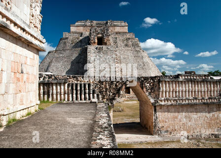 The Pyramid of the Magician (Piramide del Adivino), a Mesoamerican step pyramid in the Pre-Columbian city of Uxmal, Mexico. - Stock Photo