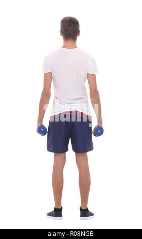 rear view.young man with dumbbells.isolated on white background - Stock Photo