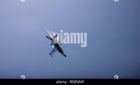 Uppsala, Uppsala län/Sweden - 08/25/2018: The Danish F-16 Fighting Falcon from Lockheed Martin in action at the Swedish Airforces showday in Uppsala - Stock Photo