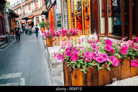 Yandai Byway, Chinese old street Hutong at Shichahai in Beijing, China - Stock Photo