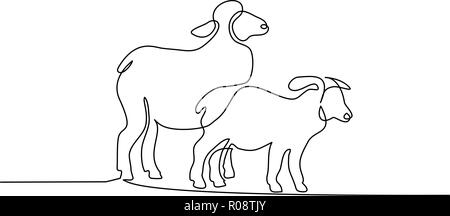 Continuous one line drawing. Sheep in modern minimalistic style. Vector illustration - Stock Photo