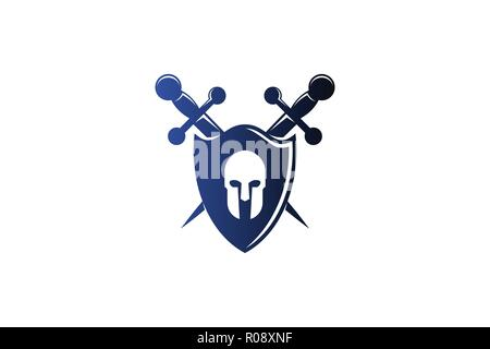 warrior shield and sword protect logo design inspiration - Stock Photo