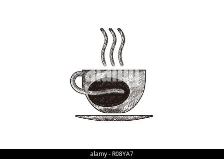 hand drawn steam coffee, mug, glass, coffee bean, coffee shop logo Designs Inspiration Isolated on White Background - Stock Photo