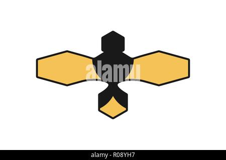 Abstract Bee Logo Designs Inspiration Isolated on White Background - Stock Photo