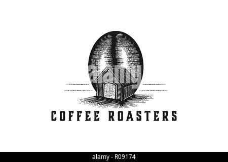 hand drawn coffee bean and house, house coffee production logo Designs Inspiration Isolated on White Background - Stock Photo