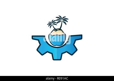 coconut tree logo Designs Inspiration Isolated on White Background - Stock Photo