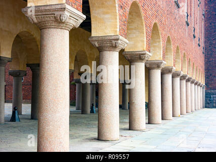 Exterior view of Town hall arcade  in daylight, Stockholm, Sweden, Europe