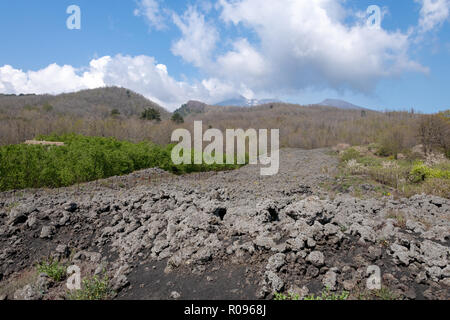 Black Lava Field from Mt Etna, Sicily - Stock Photo