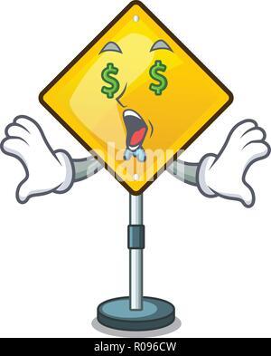 Money eye warning sign with exclamation mark mascot - Stock Photo