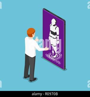 Flat 3d isometric businessman talking with ai robot in smartphone. Artificial intelligence technology and voice assistant concept. - Stock Photo