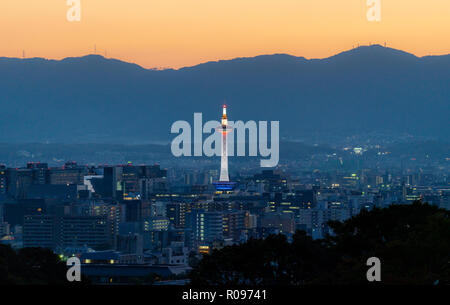 Kyoto city view in sunset, with Kyoto tower - Stock Photo