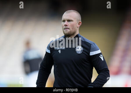 Fir Park, Motherwell, UK. 3rd Nov, 2018. Ladbrokes Premiership football, Motherwell versus Dundee; Curtis Main of Motherwell during the warm up Credit: Action Plus Sports/Alamy Live News - Stock Photo