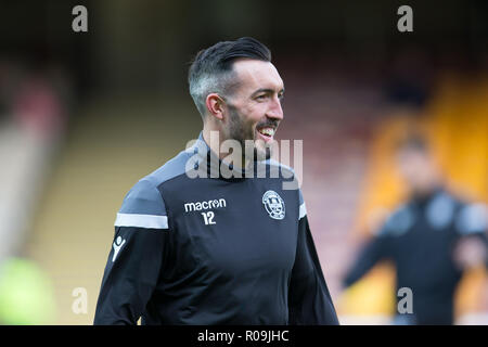 Fir Park, Motherwell, UK. 3rd Nov, 2018. Ladbrokes Premiership football, Motherwell versus Dundee; Ryan Bowman of Motherwell during the warm up Credit: Action Plus Sports/Alamy Live News - Stock Photo